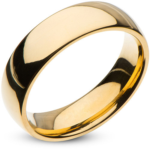 Steel Art Men's Stainless Steel 6mm Plain Gold Wedding Band with High-Polish Finish