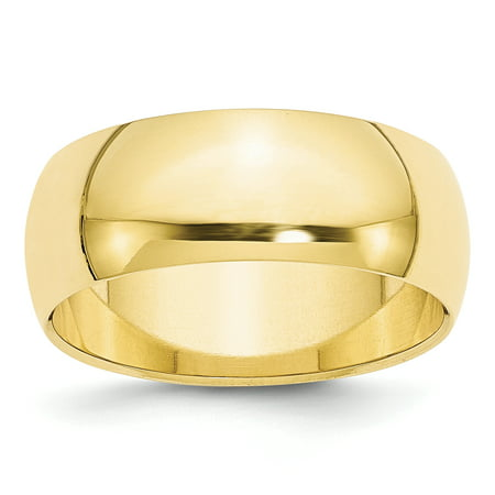 10k Yellow Gold 8mm Half Round Wedding Ring Band Size 9.5 Classic Fine Jewelry For Women Gift Set
