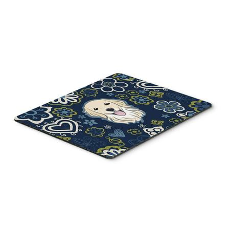 Blue Flowers Golden Retriever Mouse Pad, Hot Pad or Trivet BB5056MP