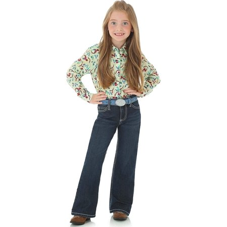 Wrangler Little Girls' Retro Stretch Boot Cut Jean, Dark Blue, 6 REG - Retro Girls