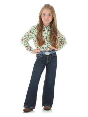 wrangler big girls' retro stretch boot cut jean, dark blue, 10 slim