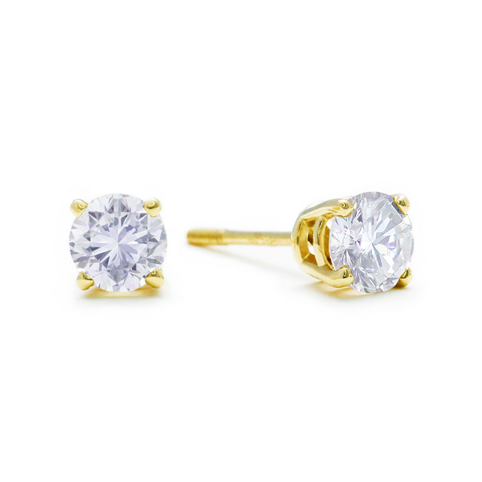 SuperJeweler 1/2ct Diamond Stud Earrings in 14k Yellow Gold