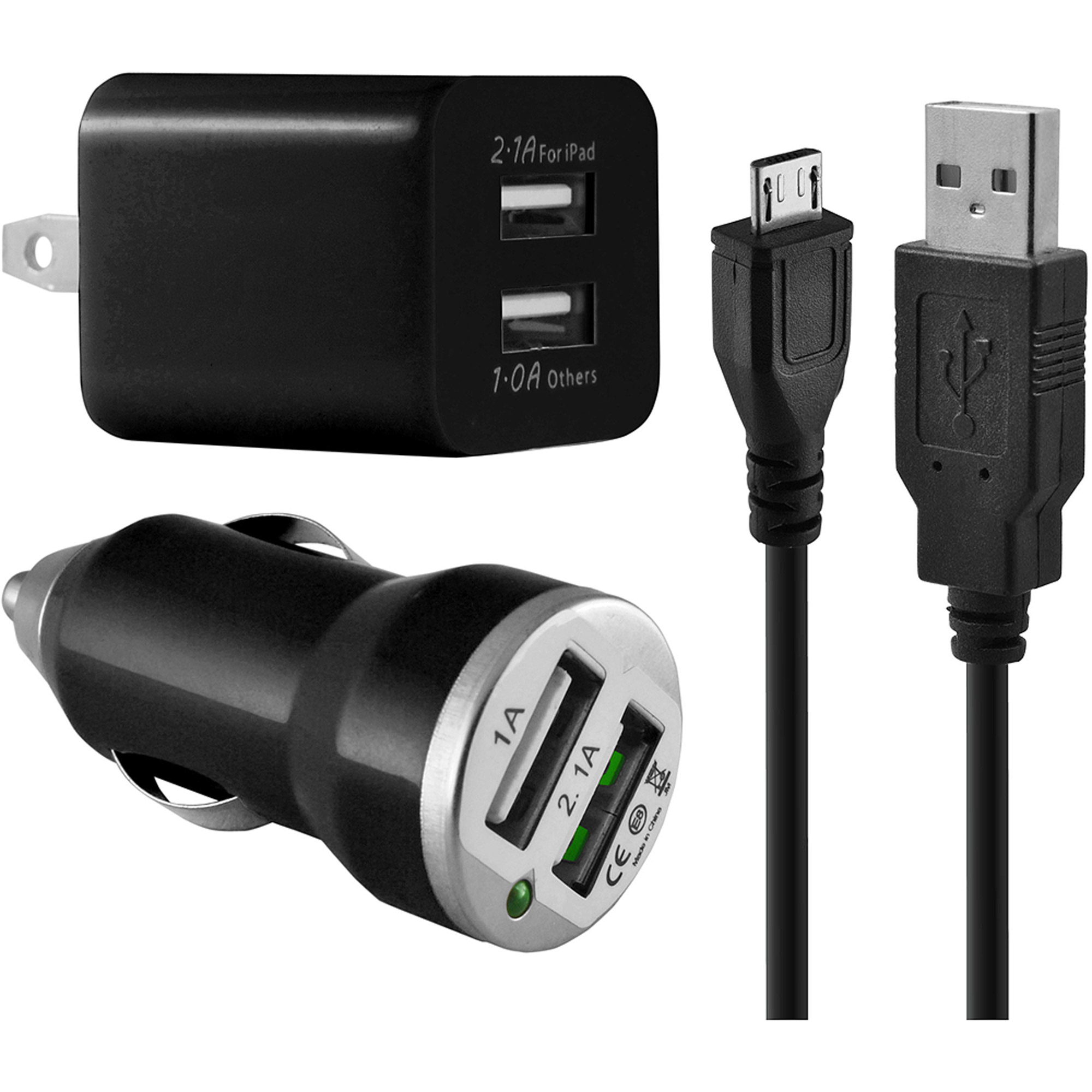 DP Audio Dual USB Wall Charger with USB Car Charger and microUSB Cable