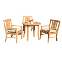 "4 PC A Grade Outdoor Patio Teak Dining Set - 36"" Round Table & 3 Osawa Arm Chairs"
