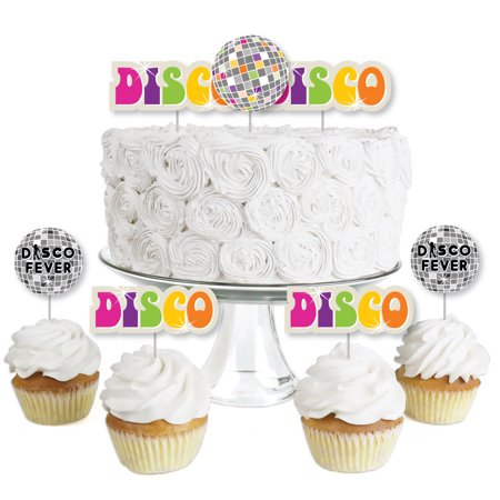 70's Disco - Dessert Cupcake Toppers - 1970's Disco Fever Party Clear Treat Picks - Set of - 1970's Party Theme