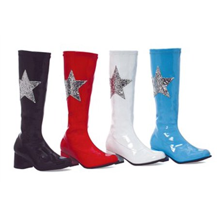 175-STAR, 1.75'' Heel Gogo Boot With Star - White Gogo Boots Size 6