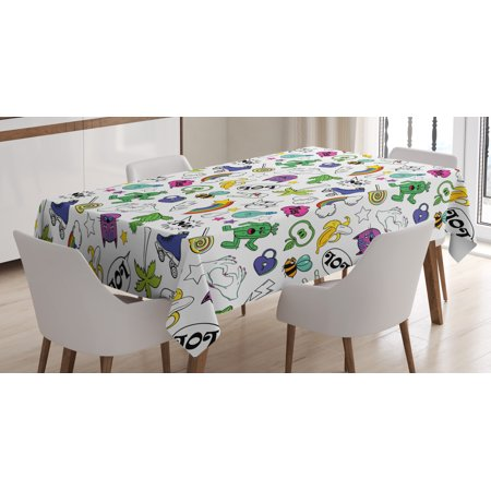 Emoji Tablecloth, Vivid Colored Collection of Fun Retro Cartoon Figures in 80s and 90s Comic Style, Rectangular Table Cover for Dining Room Kitchen, 52 X 70 Inches, Multicolor, by