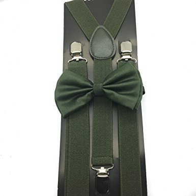 Awesome Olive Green Color Wedding Accessories Adjustable Bow Tie & Suspenders ()