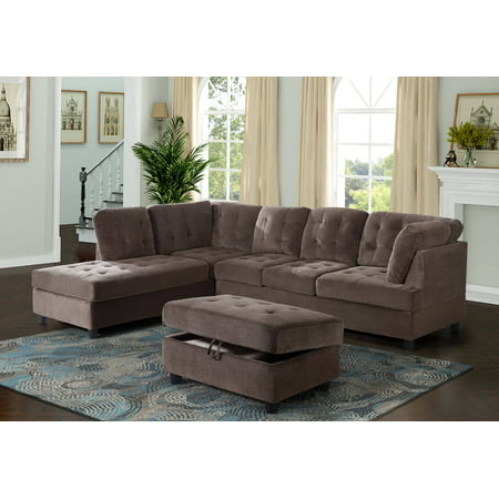 Aycp Furniture Corduroy L Shape Sectional Sofa With