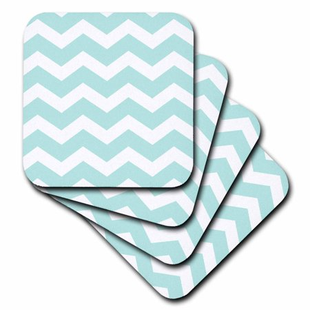 3dRose Mint blue and white zig zag chevron pattern pastel turquoise teal aqua, Soft Coasters, set of 4 (Teal Coasters)
