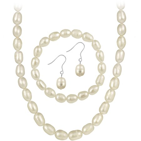 9.5-10.0mm Freshwater Cultured Pearl Sterling Silver Jewelry Necklace, Bracelet and Earring Set