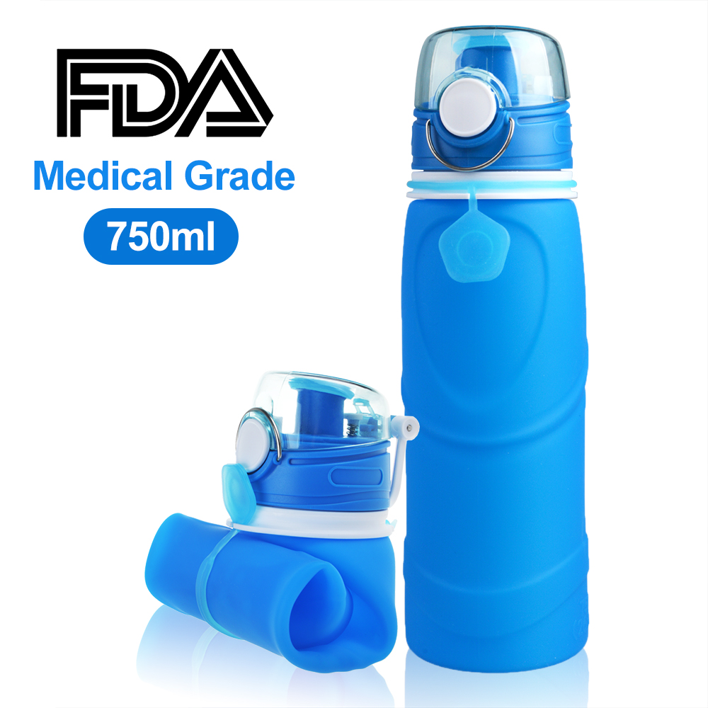 BPA Free Collapsible Water Bottle, ABLEGRID Medical Grade Silicone Refillable Water Bottle for Travel Sport Cycling Hiking Camping Lake-proof Lip 750 ml [FDA Certificated]