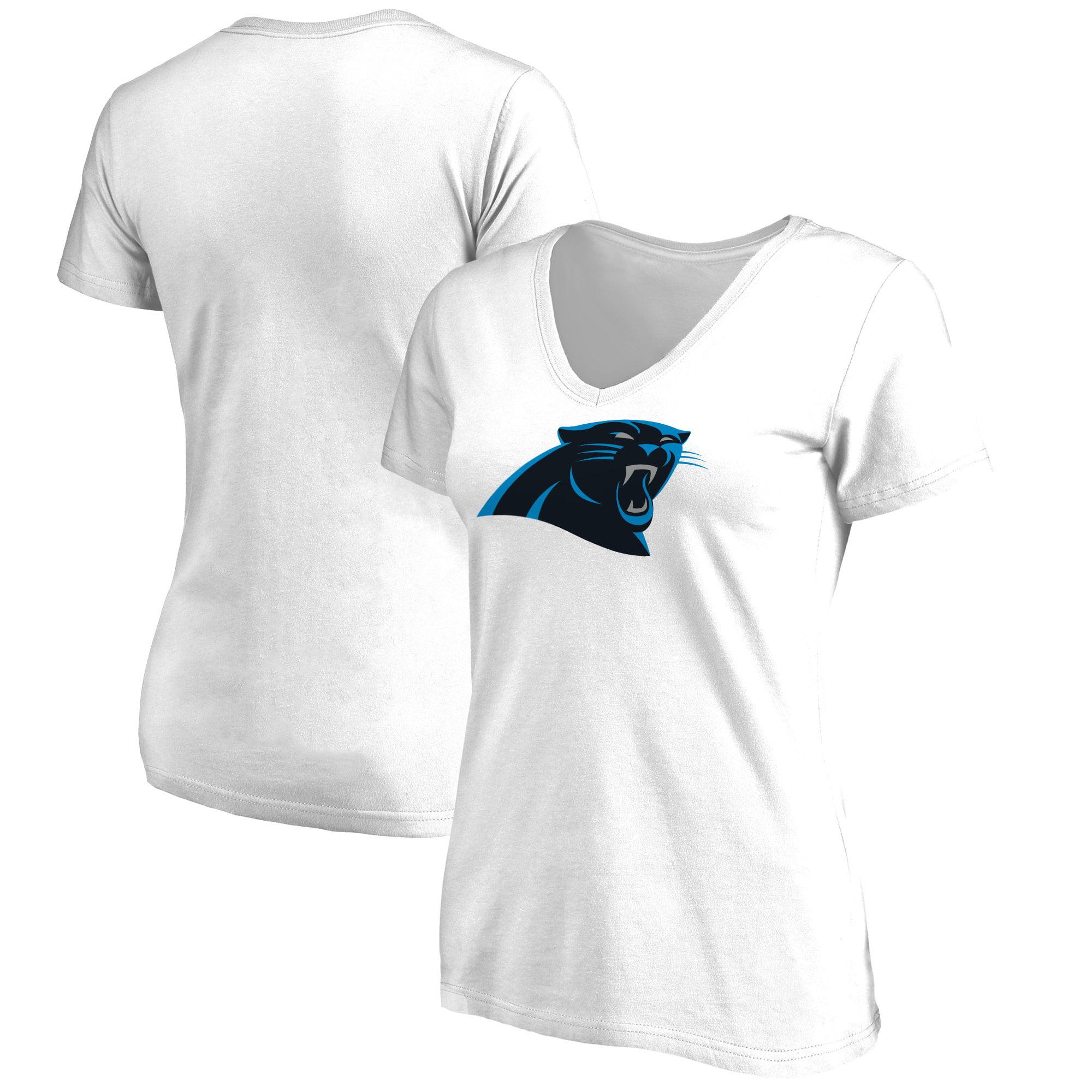 Carolina Panthers NFL Pro Line Women's Plus Size Primary Logo V-Neck T-Shirt - White