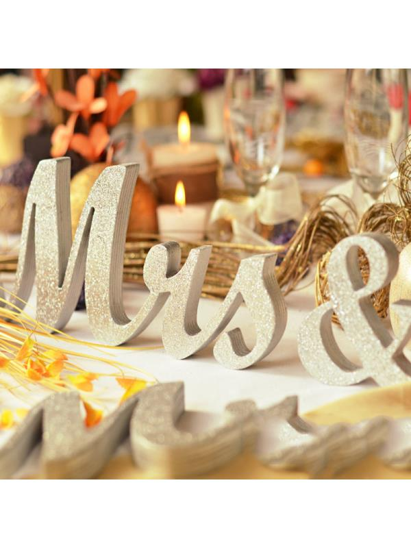 Large Silver Mr & Mrs Plaque Sign, MR MRS Wooden Letters, Wedding Engagement, Sweet Table Docoration by