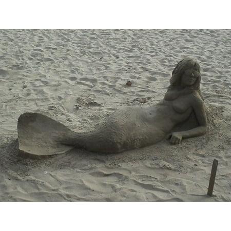 Canvas Print Sculpture Mermaid Woman Beach Summer Sand Stretched Canvas 10 x 14