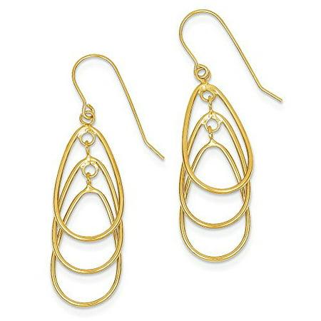14K Yellow Gold Triple Teardrops Dangle Shephered Hook Earrings