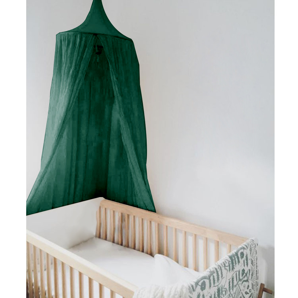 WALFRONT Round Dome Hanging Bed Canopy Mosquito Net Curtain for Baby Kids Reading Playing,Bed Curtain, Mosquito Net Curtain Pink/Khaki/Dark Green