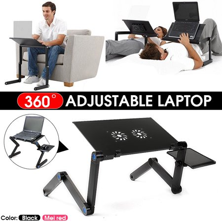 Grtsunsea 360 Foldable Laptop Desk Table Fans Stand Portable Desk Bed Sofa Dormitory Dorm Tray Mouse Pad