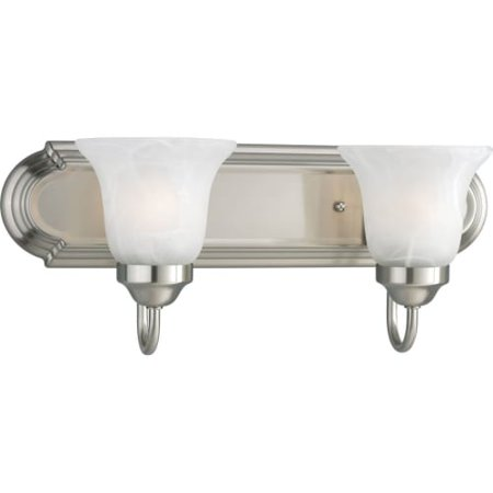 Progress Lighting P3052 Builder Bath Series Two Light Bathroom Fixture With Etched Alabaster Gl Shades