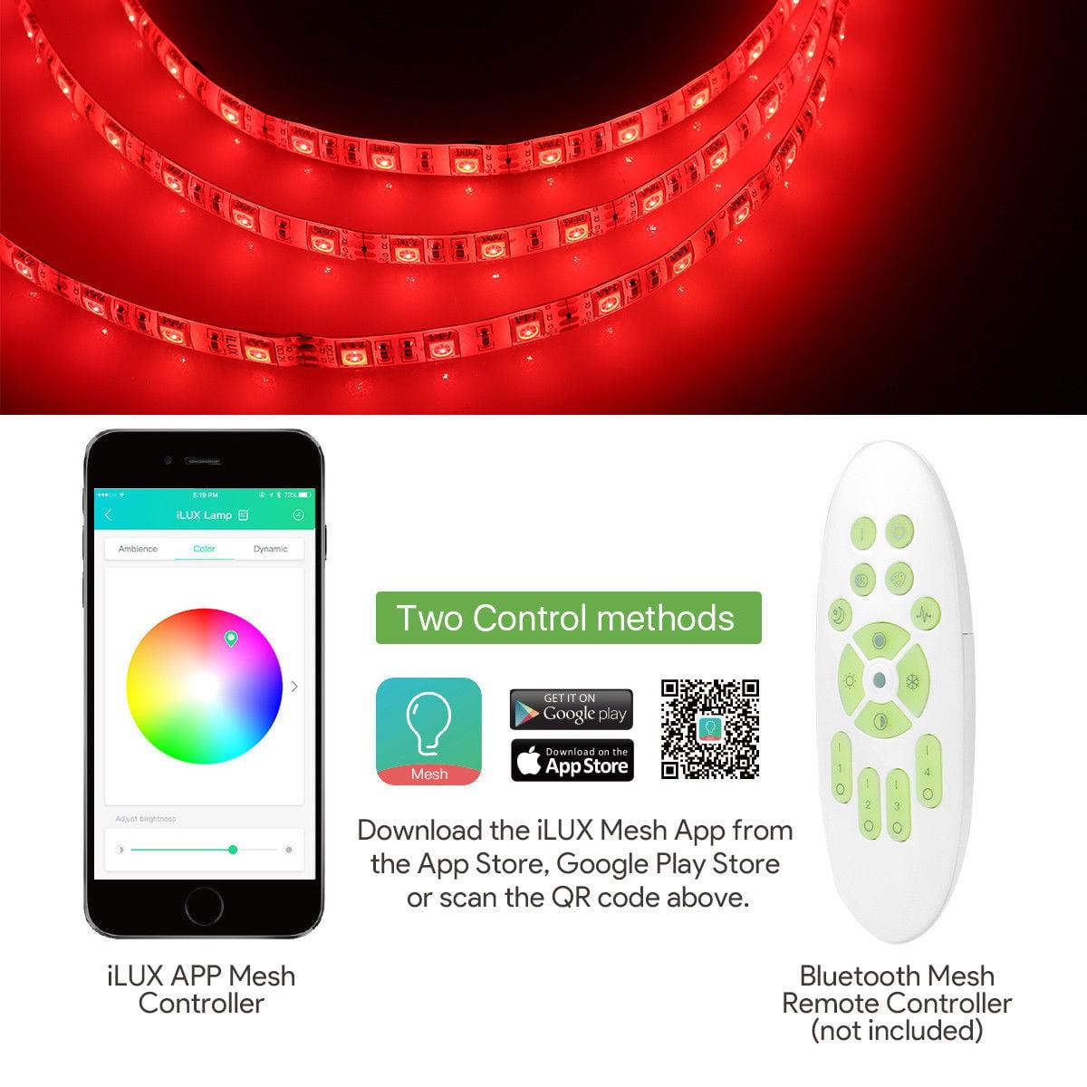 Lighting EVER 5M/16 4ft iLUX Mesh Bluetooth RGBW LED Strip Light 5050 Smart  Phone APP Control Waterproof