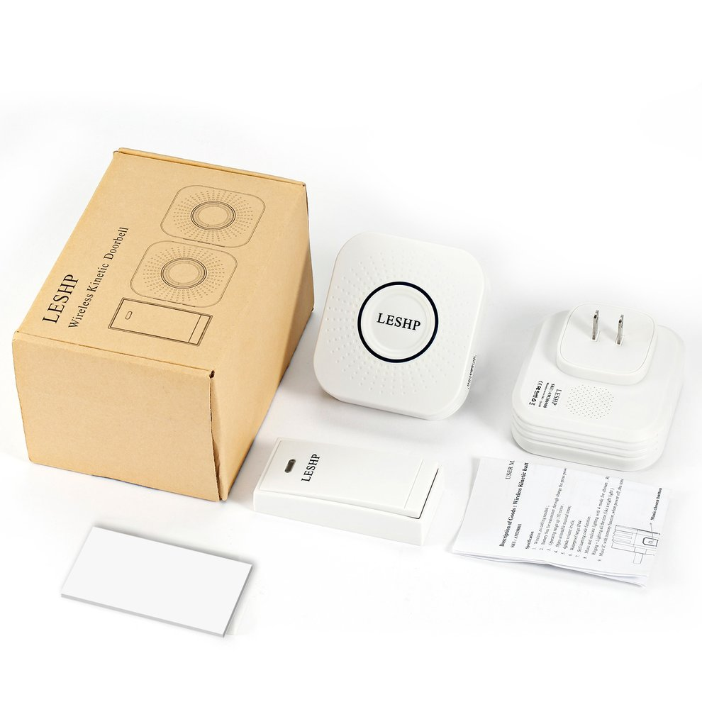 LESHP Music Wireless Doorbell 150M Long-distance Remote Control with 2 US Plug