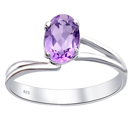 0.7 Carat Purple Amethyst Silver Ring | 925 Sterling Silver Ring | February Birthstone Ring | Engagement Ring By Orchid (Amethyst Purple Anklet)