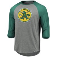 Oakland Athletics Majestic Cooperstown Collection Special Invitation Tri-Blend 3/4-Sleeve Raglan T-Shirt - Heathered Gray
