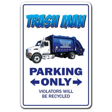 TRASH MAN Decal parking garbage trashman waste management can engineer dirt | Indoor/Outdoor | 9
