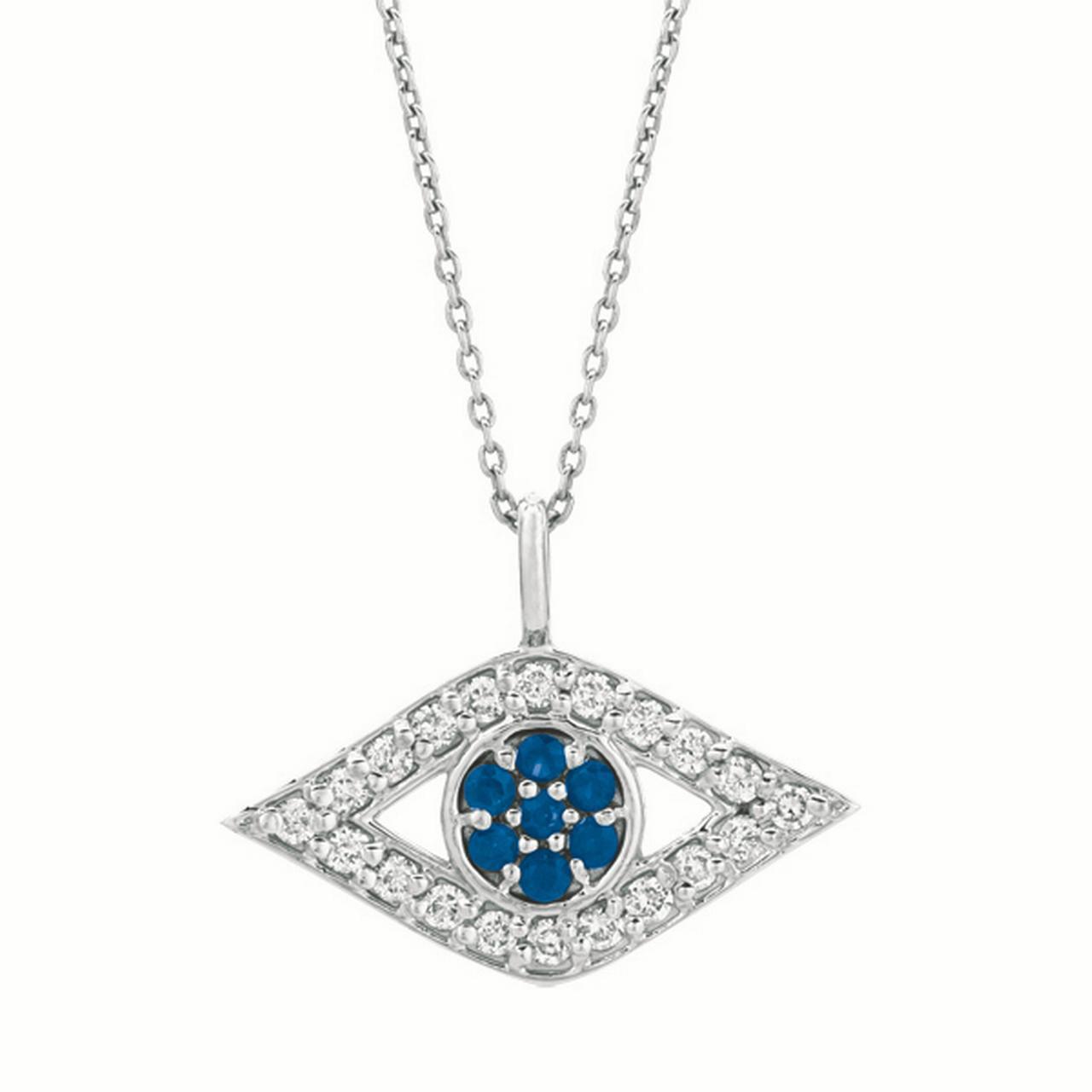 Diamond Jewelry, Sapphire: Eye Necklace, 14 Karat White Gold, Diamond Carat Total Weight: 0.35, Sapphire: 0.15, Chain 18... by Diamond Jewelry