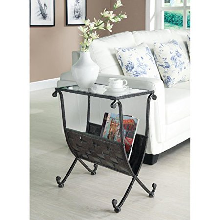 Transitional Black Taupe Tempered Glass Top Magazine End Table with Weaved Metal Basket Base - Includes Modhaus Living Pen ()