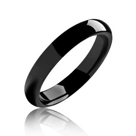 Plain Simple Dome Black Couples Titanium Wedding Band Ring For Men For Women Comfort Fit 4MM Benchmark Titanium Wedding Ring
