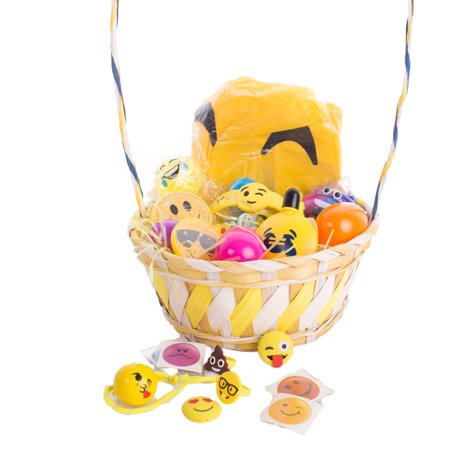 Kids Trendy Emoji Emoticon Smile Toy Filled Easter Basket Gift Sets, Yellow](Filled Easter Baskets)