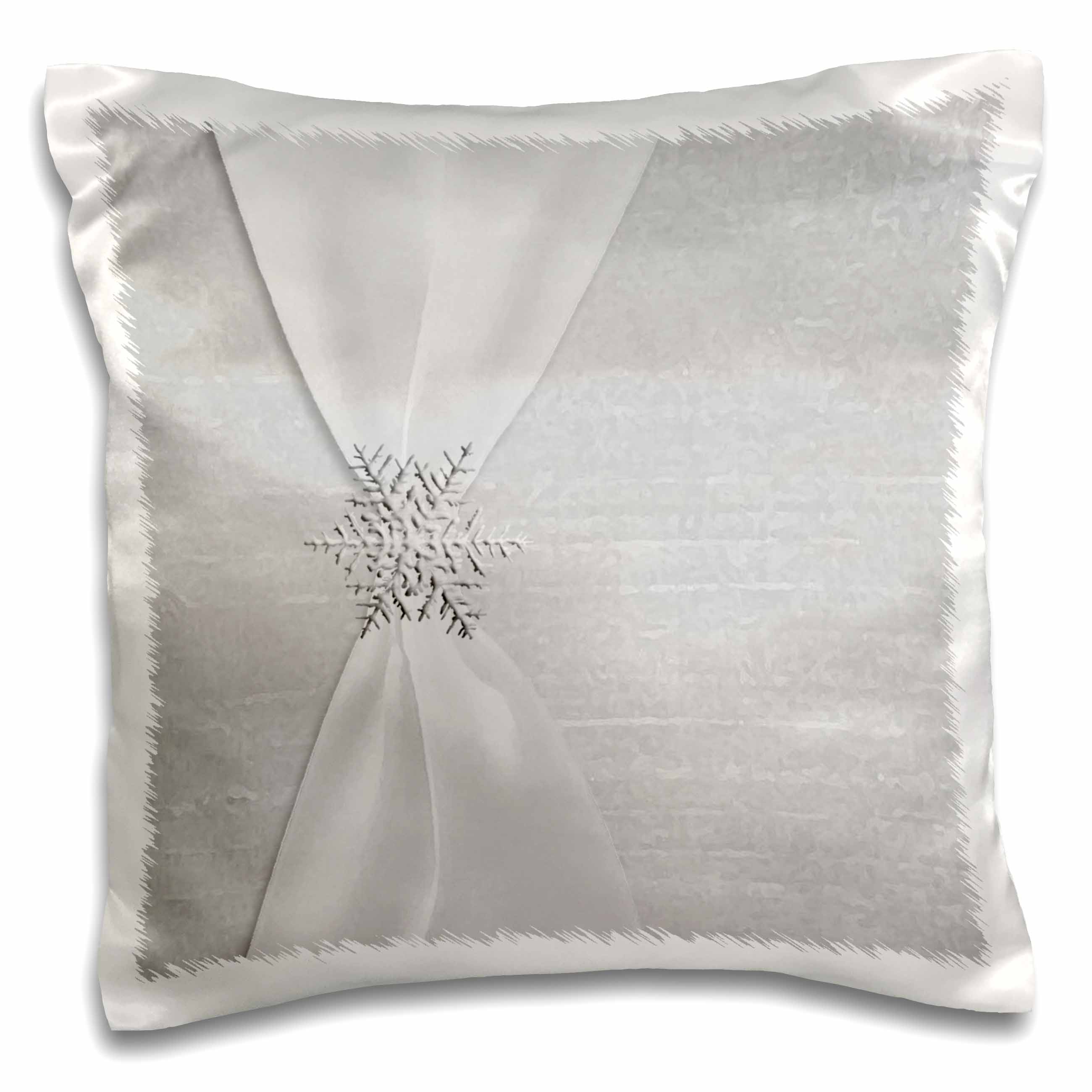 3dRose White Satin Ribbon with Snowflake, Pillow Case, 16 by 16-inch