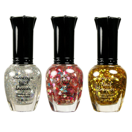 3 KLEANCOLOR NAIL GLITTER POLISH SILVER STAR, HEART LOVE, GOLD LACQUER