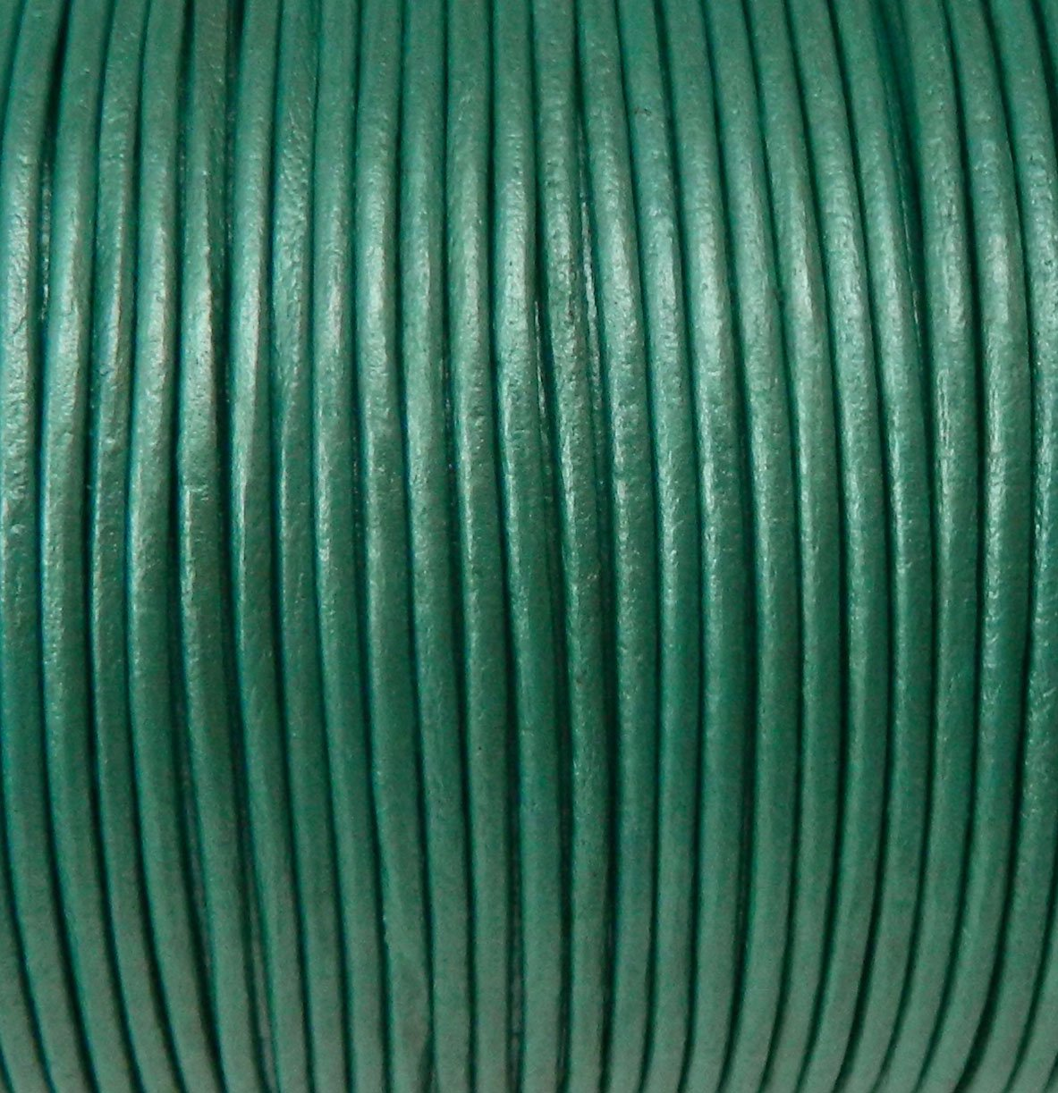Imported India Leather Cord 2mm Round 5 Yards Metallic Light Teal Green
