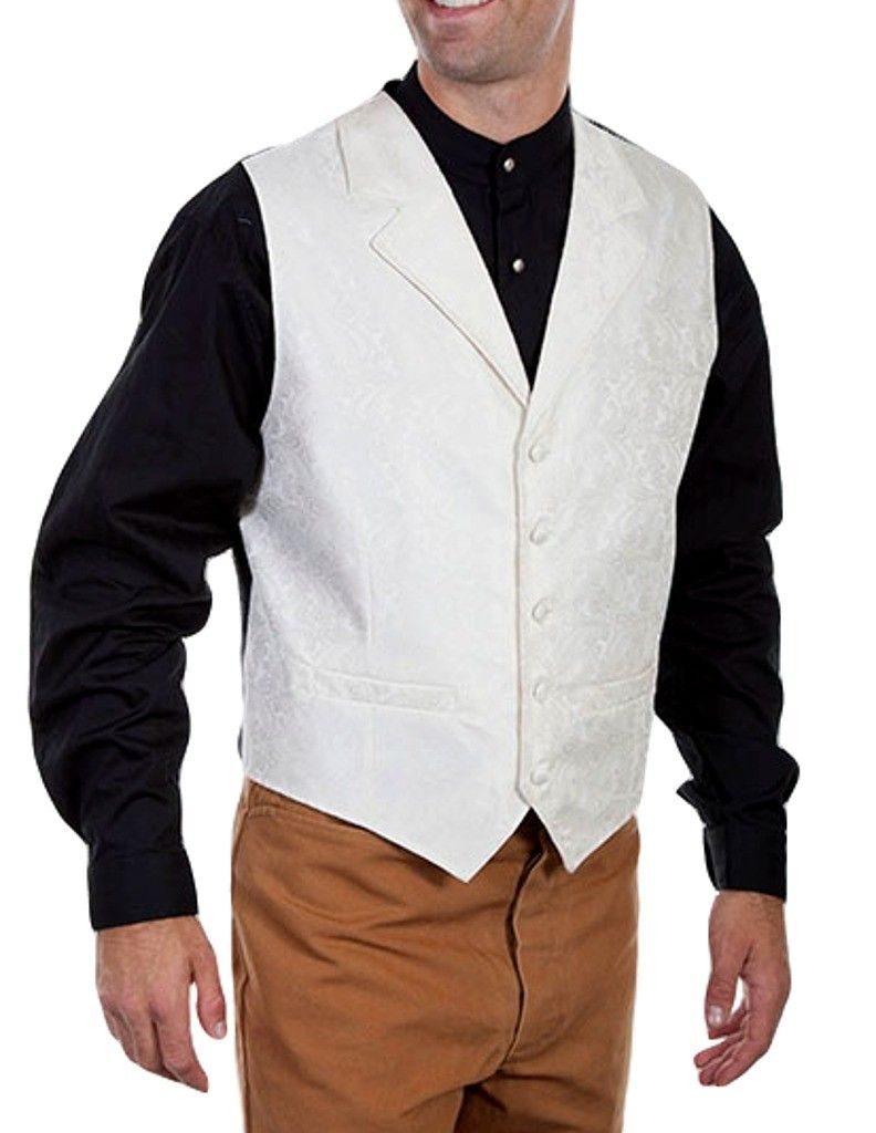 Scully Western Vest Mens Manly Quality Lined Paisley Button RW093X