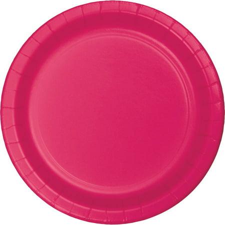 Hot Magenta Paper Banquet Plates, 24-Pack