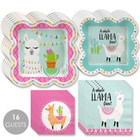 Whole Llama Fun - Llama Fiesta Baby Shower or Birthday Party Tableware Plates and Napkins - Bundle for 16