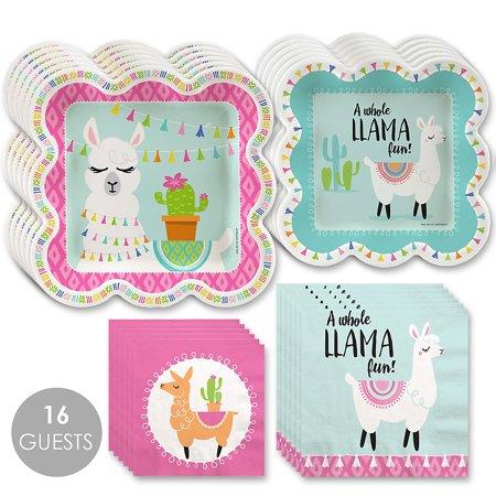 Whole Llama Fun - Llama Fiesta Baby Shower or Birthday Party Tableware Plates and Napkins - Bundle for 16 - Fiesta Birthday Party