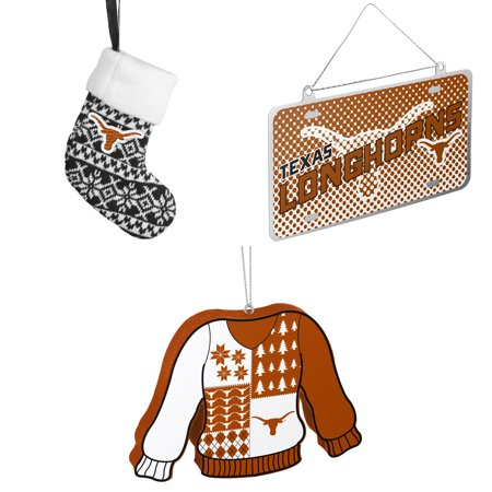 NCAA Texas Longhorns ORNAMENT STOCKING KNIT Metal License Plate Christmas Ornament Foam Ugly Sweater Bundle 3 Pack By Forever Collectibles