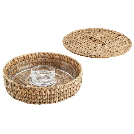 Artland Garden Terrace Chip N Dip Glass Platter And Dip Bowl, In Seagrass Tray With Lid](Plastic Party Trays With Lids)