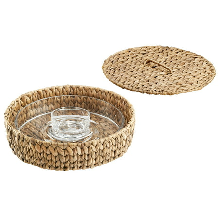 Plastic Party Trays With Lids (Artland Garden Terrace Chip N Dip Glass Platter And Dip Bowl, In Seagrass Tray With)