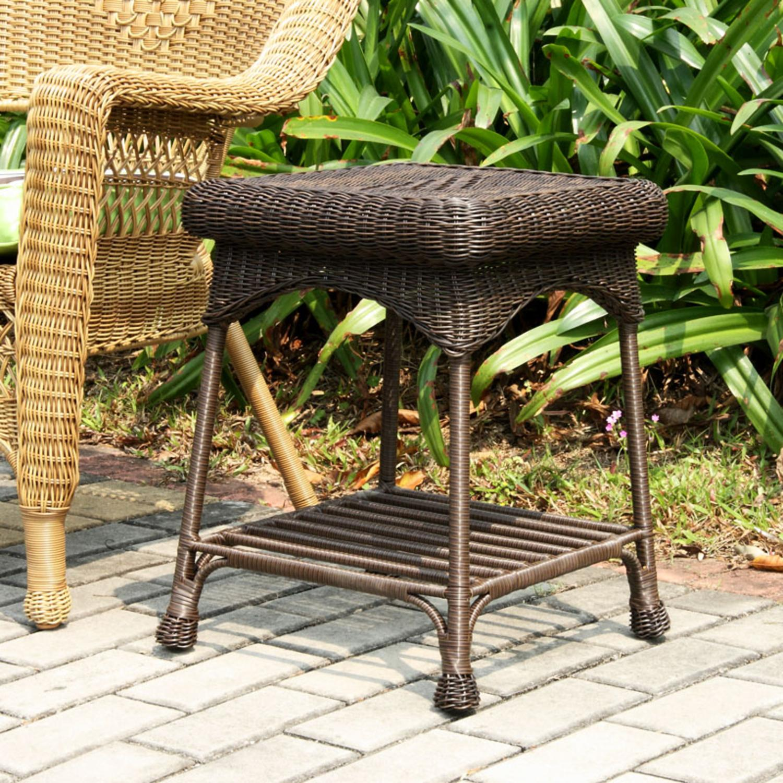 "21"" Espresso Brown Hand Woven Resin Wicker Indoor Outdoor Patio Garden End Table by CC Outdoor Living"