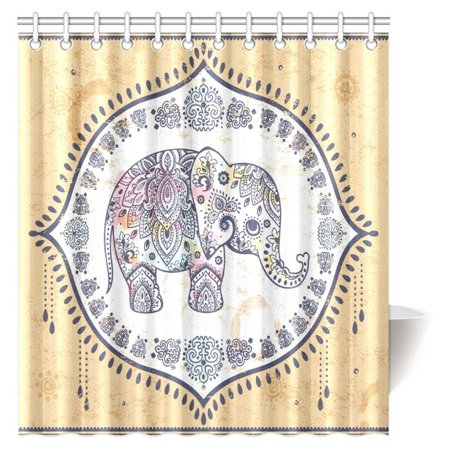 MYPOP Indian Aztec Elephant Decor Collection, Paisley Ornate Mandala with Elephant Inside Ethnic Spirituality Bathroom Shower Curtain 66 X 72 Inches