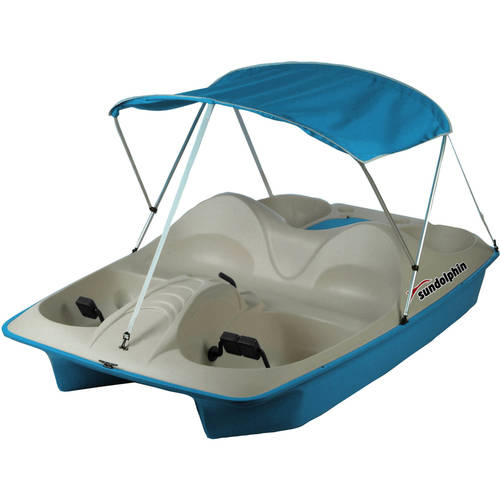 Sun Dolphin 5 Seat Recreational Pedal Boat with Canopy, Teal by KL Outdoor
