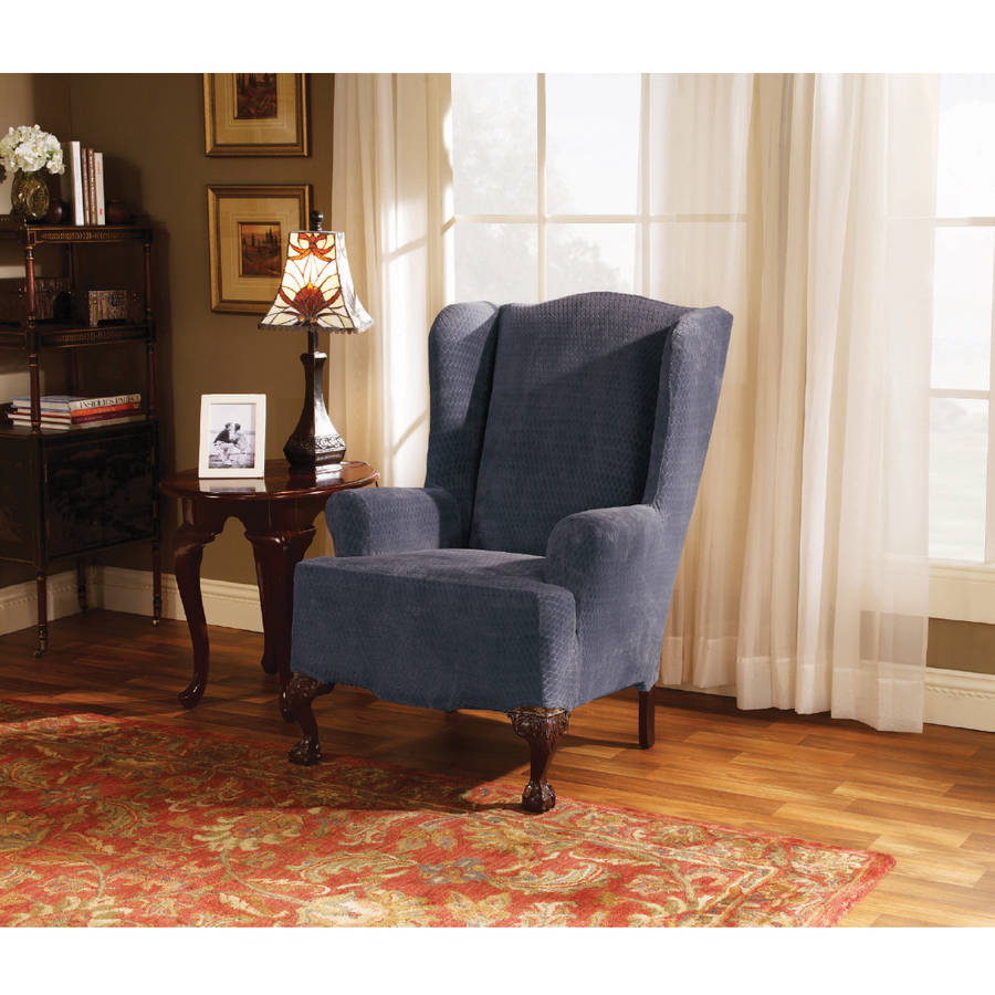 Sure Fit Stretch Royal Diamond 1-Piece Wing Chair