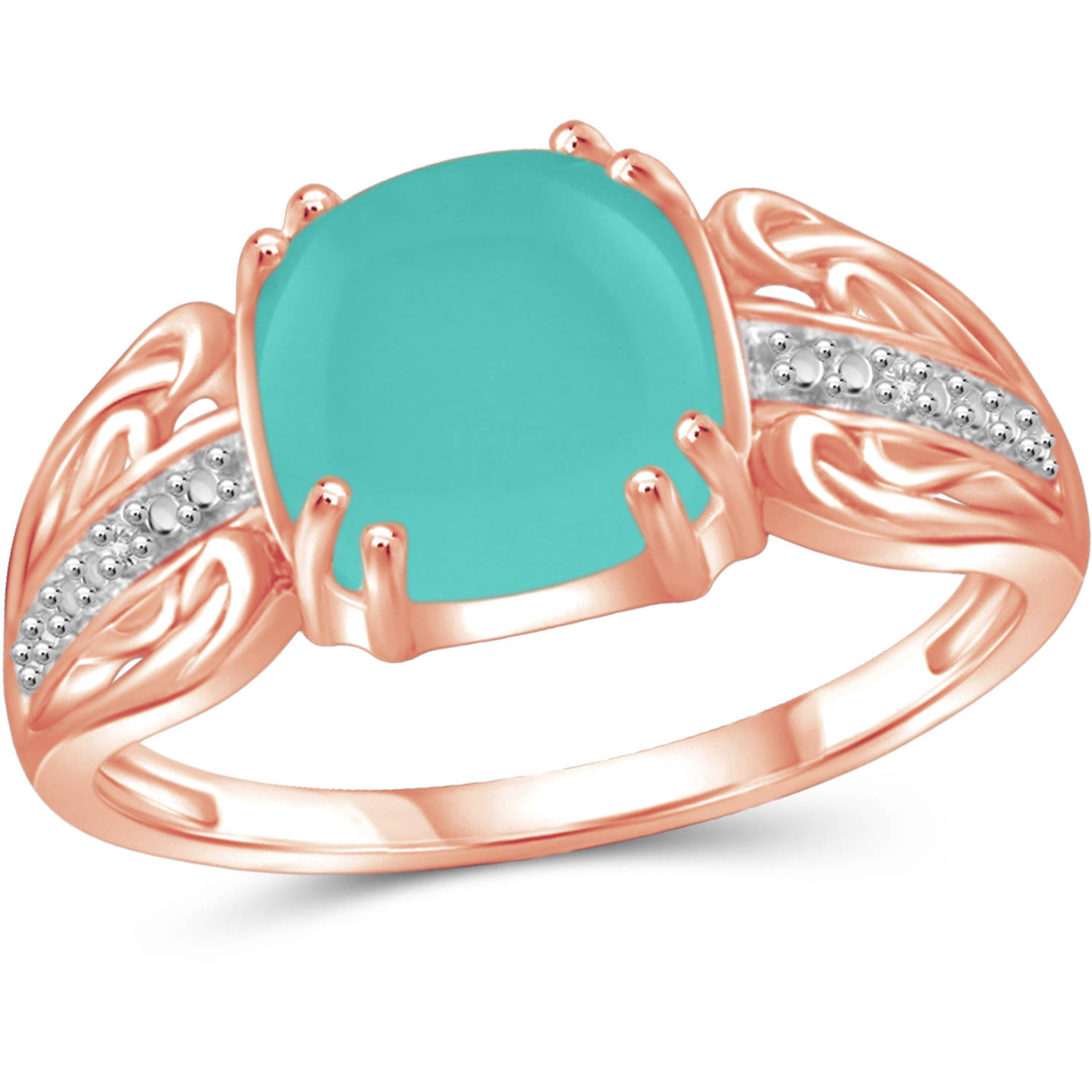 JewelersClub 2-1 2 Carat T.G.W. Chalcedony and White Diamond Accent Rose Gold over Silver Fashion Ring by JewelersClub