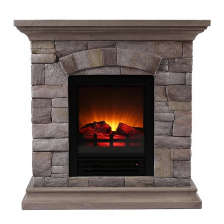 Millwood Pines Ozzie Portable Faux Stone Electric Fireplace