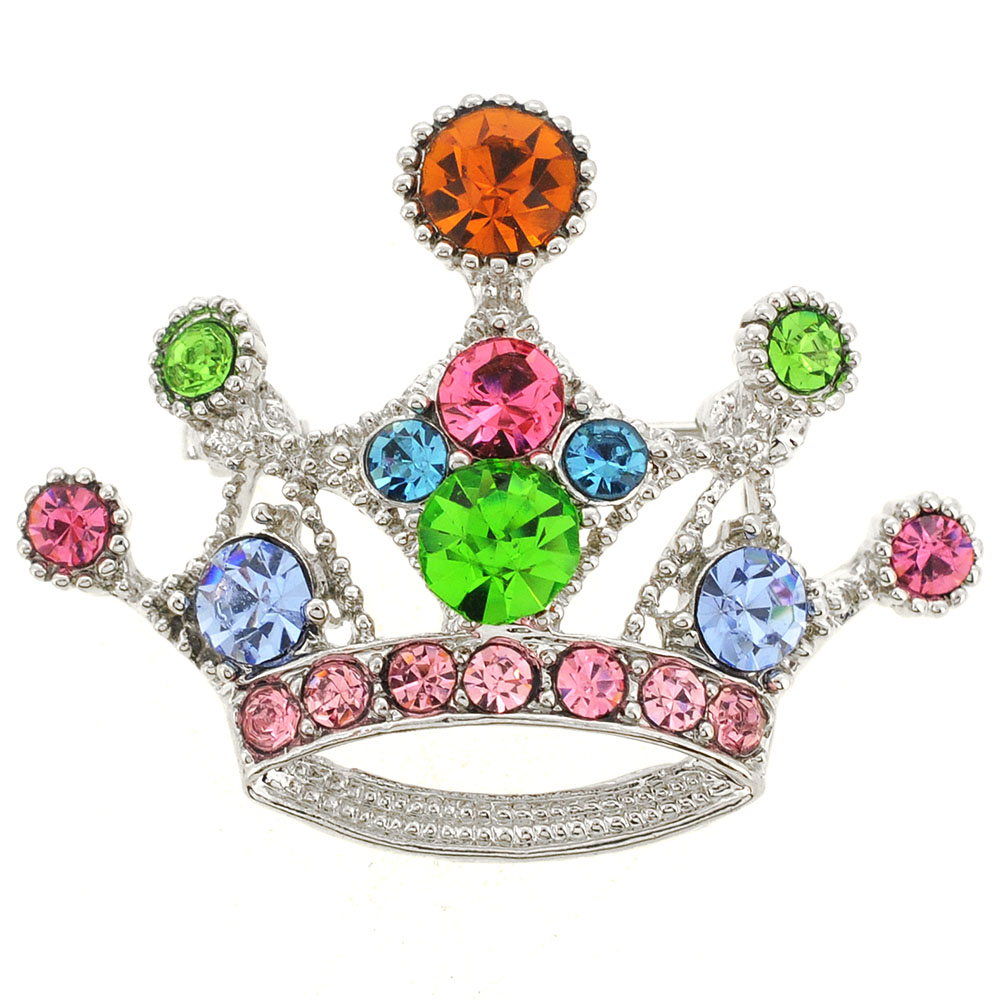 Multicolor Crown Brooch by