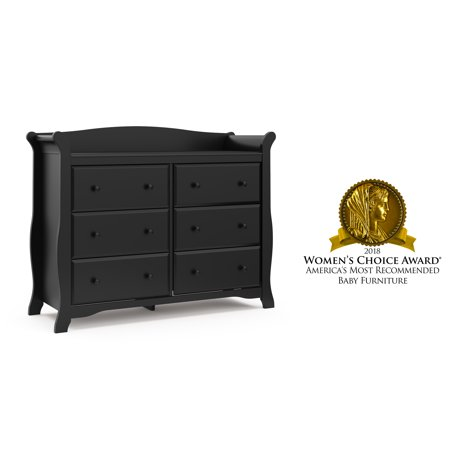 Storkcraft Avalon 6 Drawer Universal Dresser Black